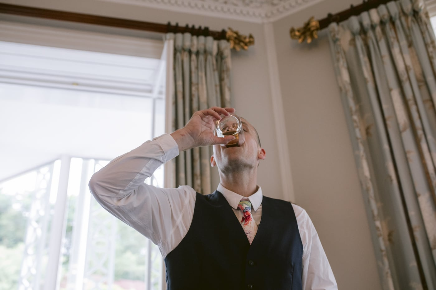 Guest Wedding Speech Drinking Portrait Shot at Storrs Hall Wedding