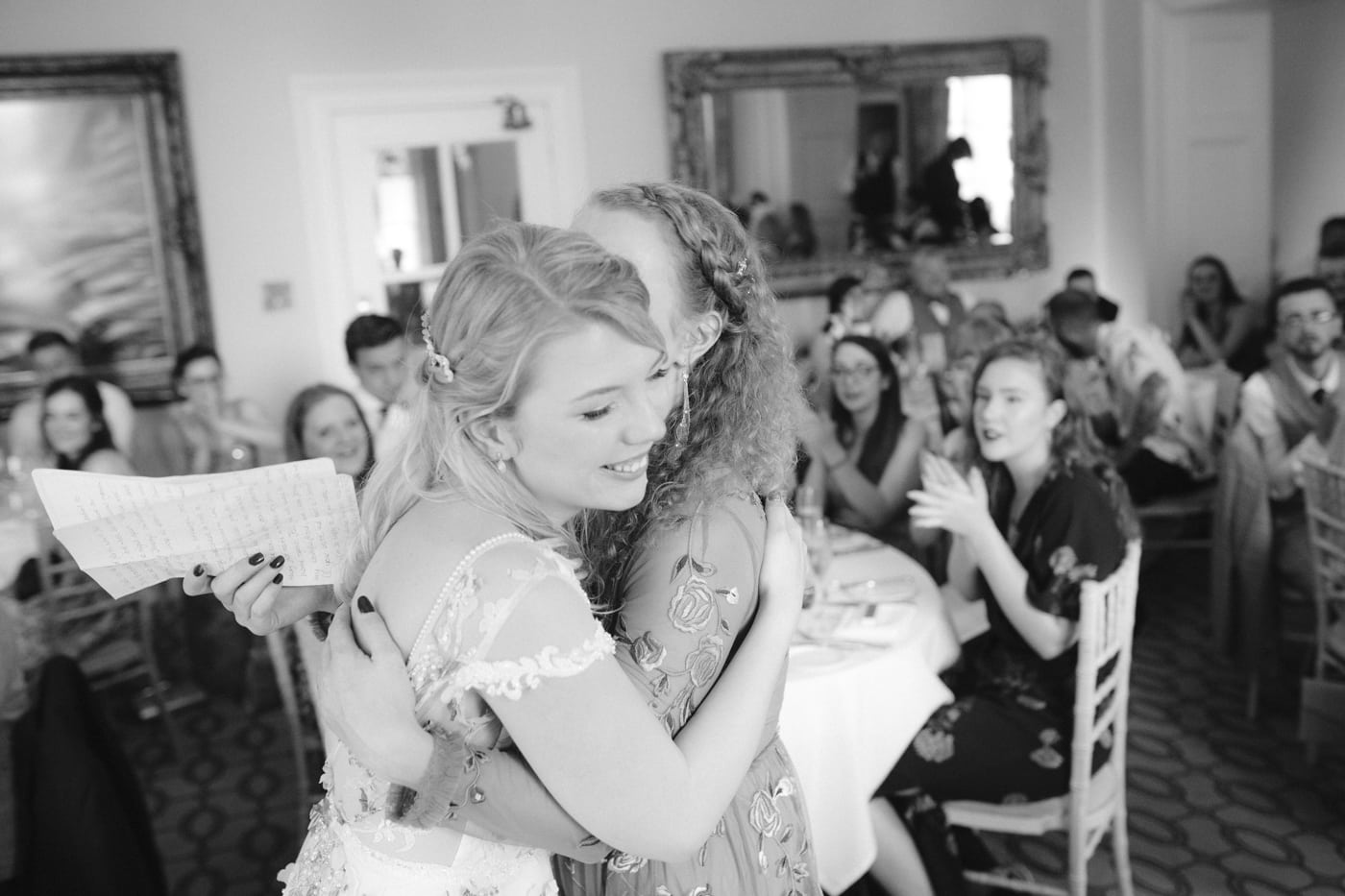 Bride and Guest Hugging on Wedding Speech at Storrs Hall Wedding