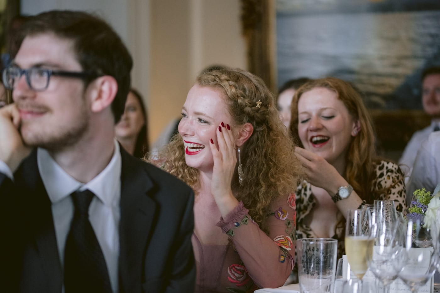 Guests Side View Portrait Laughing and Smiling Together at Storrs Hall Wedding