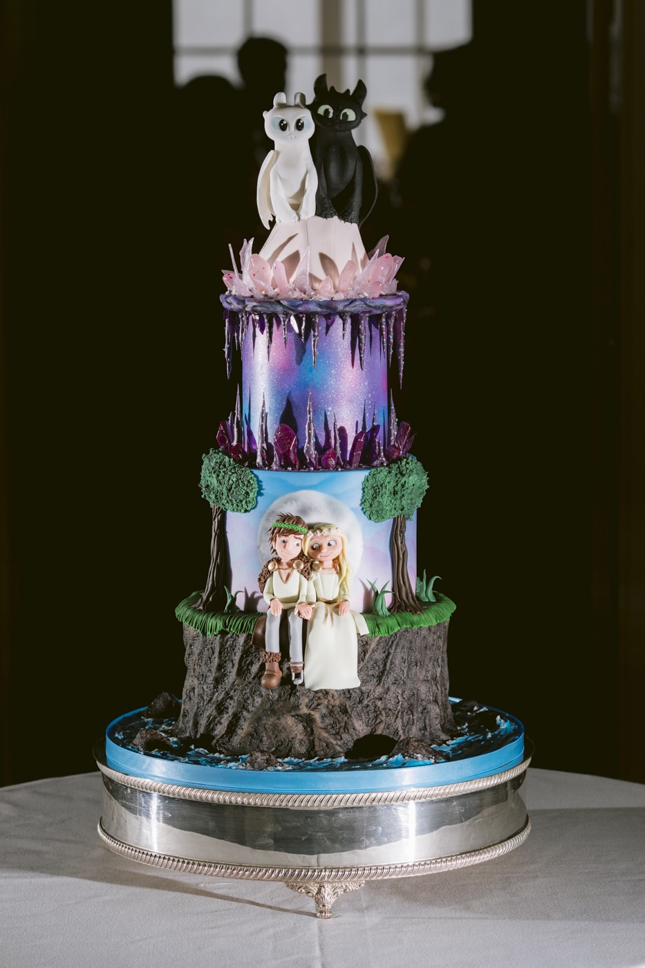 Bride and Groom Wedding Cake Portrait at Storrs Hall Wedding