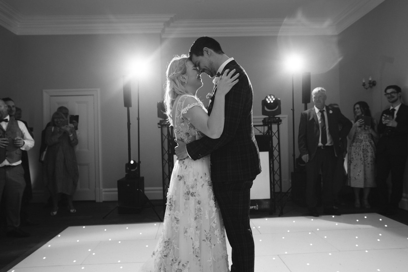 Bride and Groom Together on Dance Floor at Storrs Hall Wedding