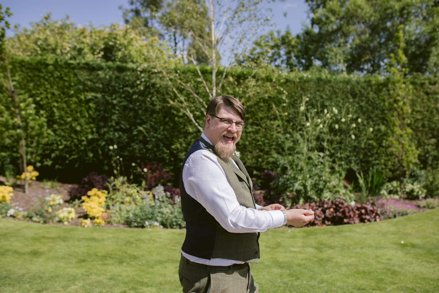 Man in Garden for Portrait Shot at Rounthorn Country house