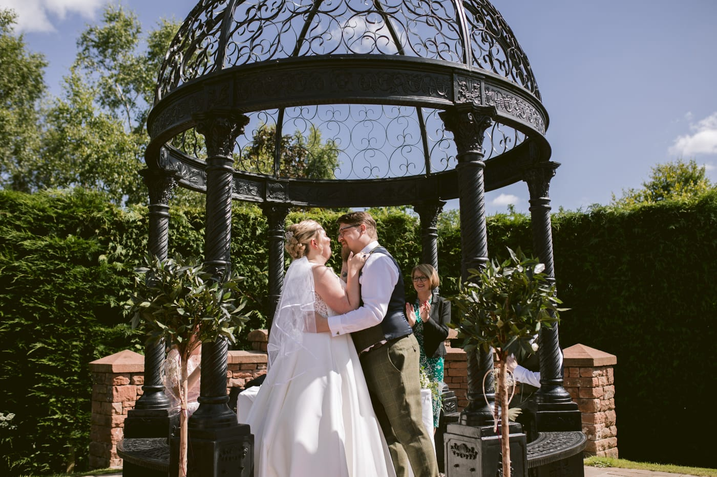 Couple Full Portrait Kiss the Bride at Roundthorn Country House