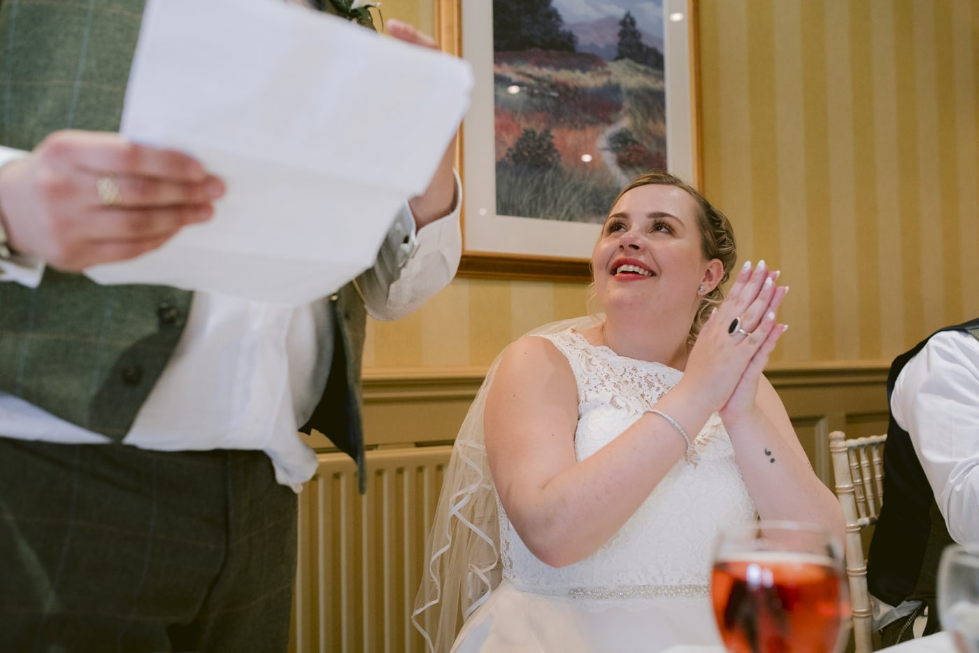 Bride Clapping and Smiling Portrait at Roundthorn Country House
