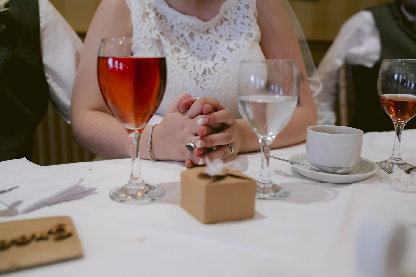 Bride with Glasses of Wine at Roundthorn Country House