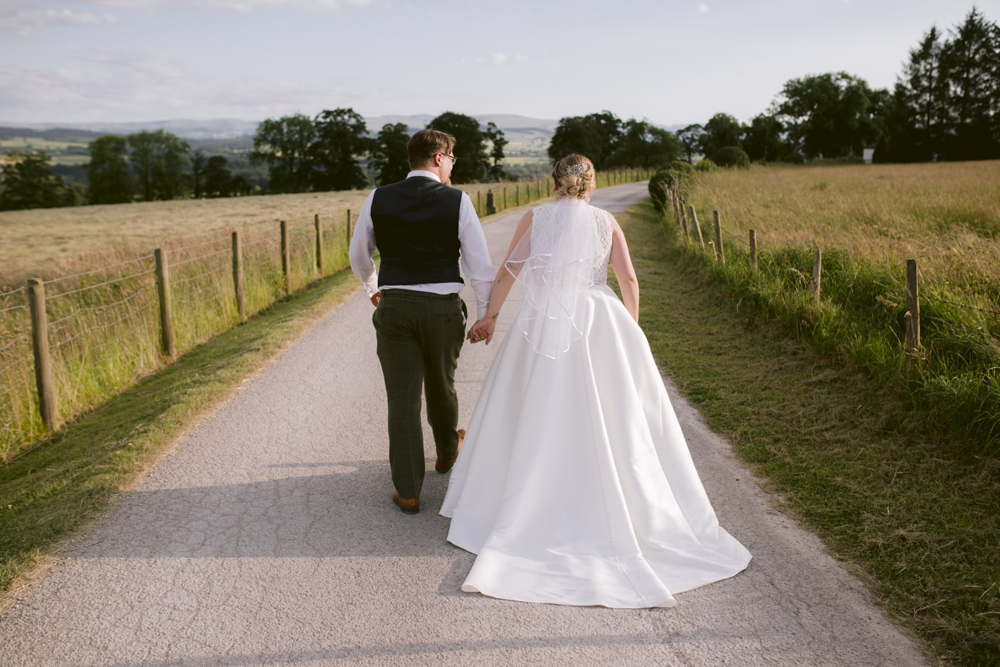 Bride and Groom Evening Walk at Roundthorn Country House