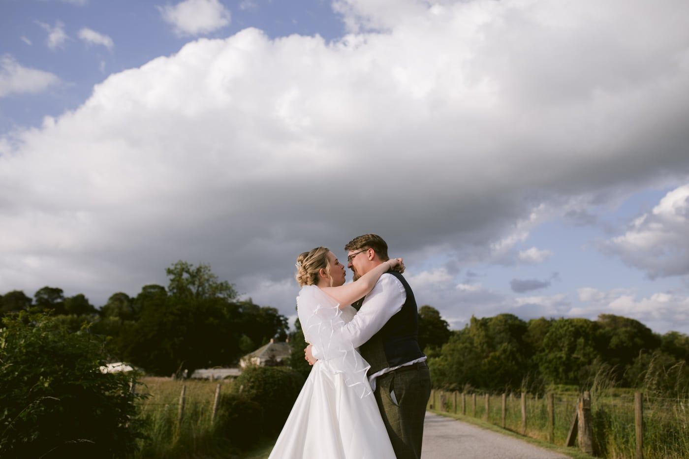 Bride and Groom Outside at Roundthorn Country House