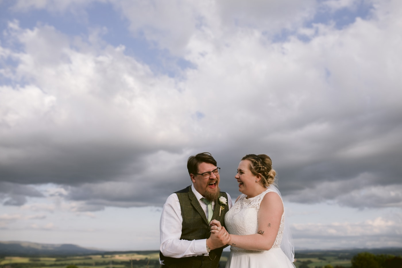 Bride and Groom Dancing Together at Rounthorn Country House