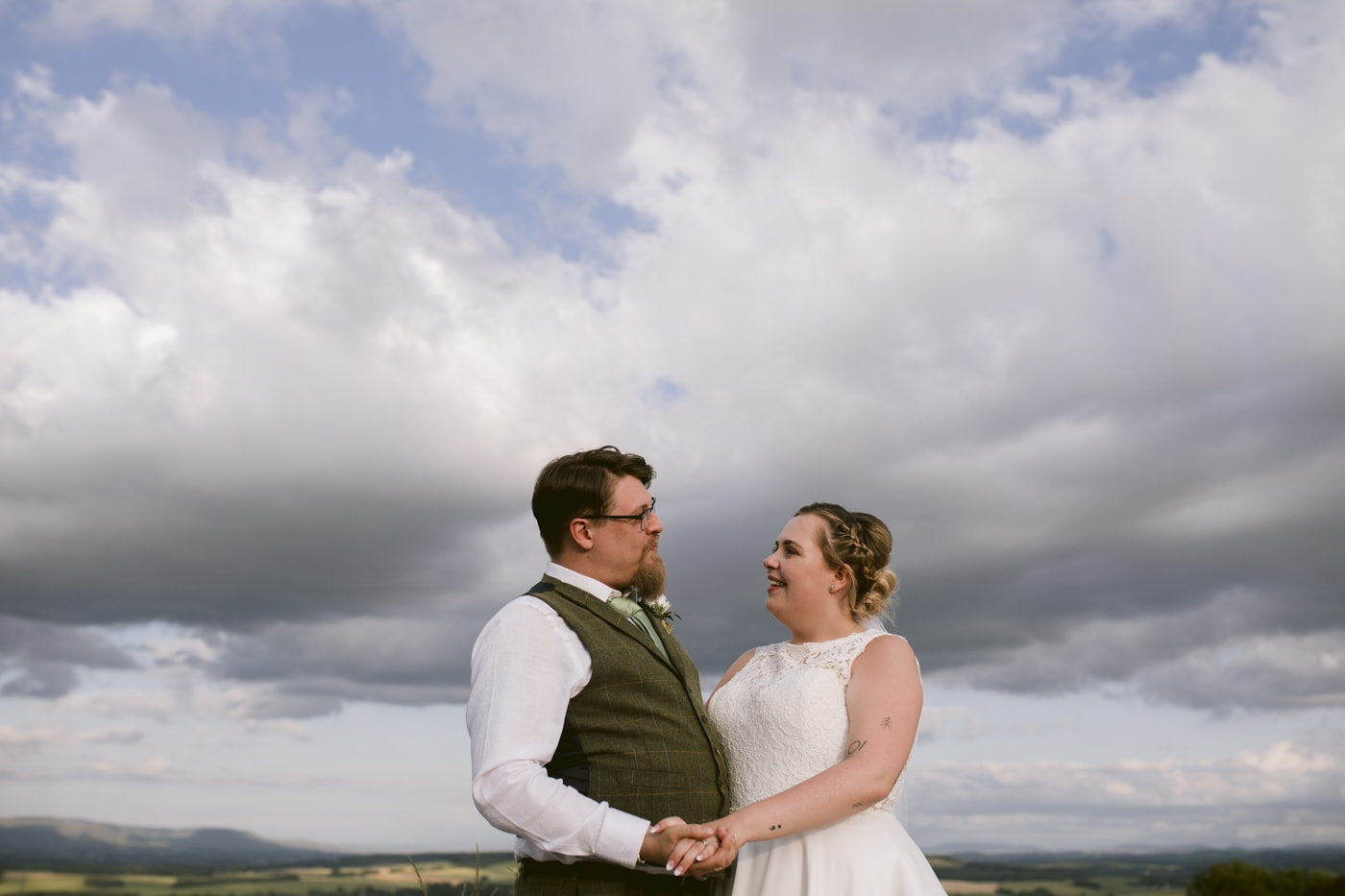 Bride and Groom Embraces Together at Roundthorn Country House