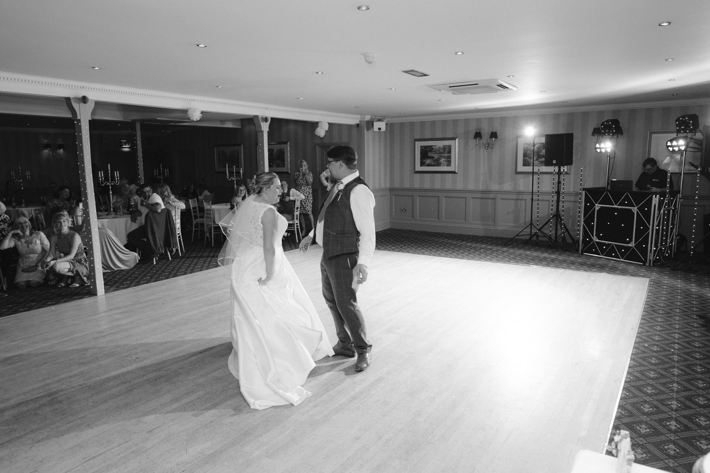 Bride and Groom Dancing Together at Roundthorn Country House