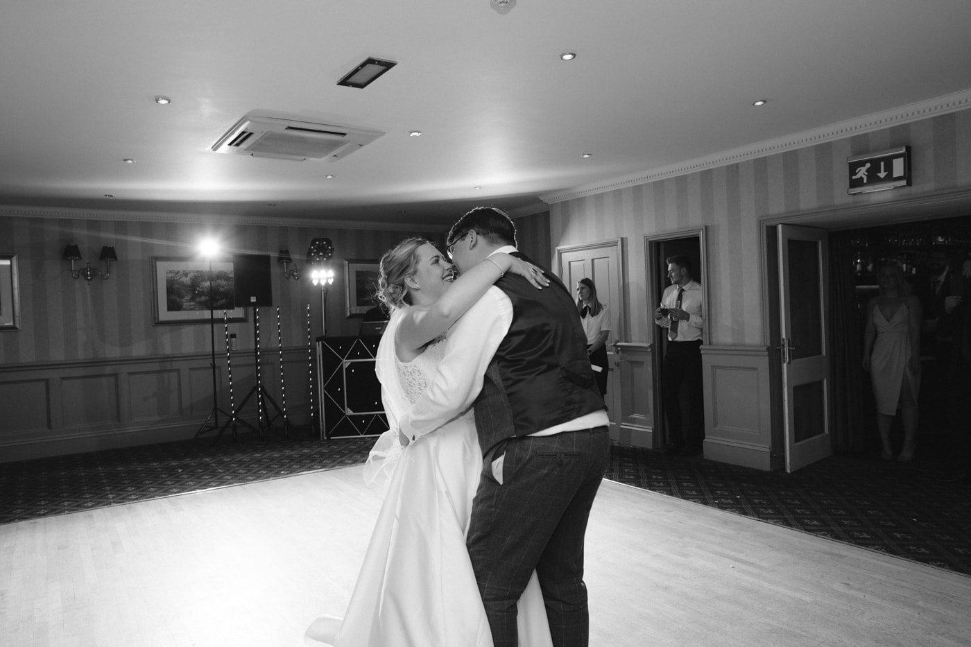Bride and Groom Embraced Dancing Together at Roundthorn Country House