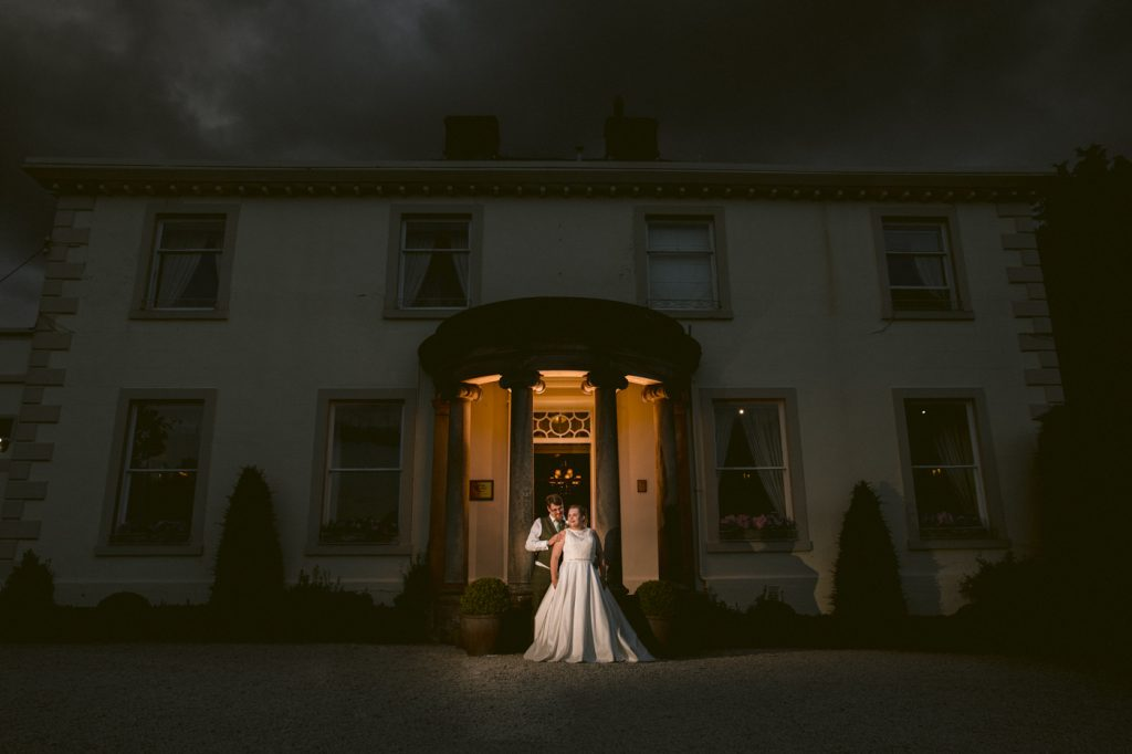 Bride and Groom Evening Portrait at Roundthorn Country House