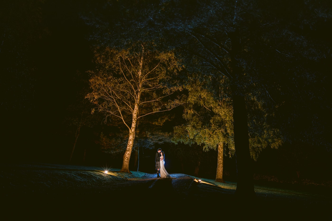 Winter wedding photograph at knipe hall