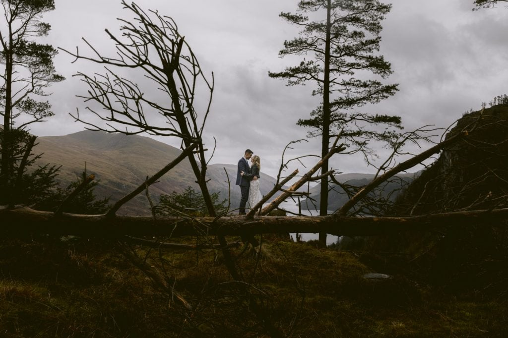 Bride and Groom in the Lake District after their Elopement Wedding