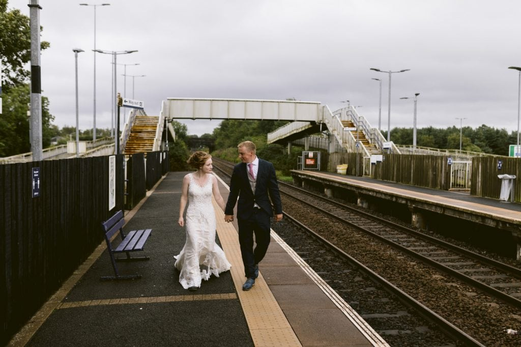 Couple at Gretna Green train station after they eloped